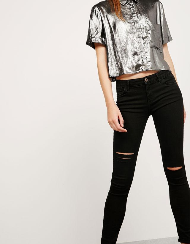 camisa cropped lurex plata bsk