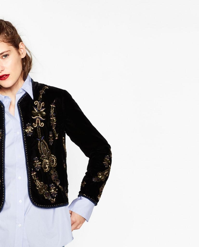chaqueta bordado victoriano zara