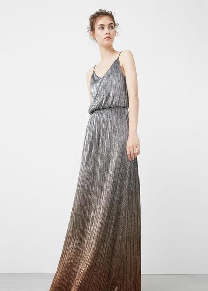 vestido largo metalizadomango