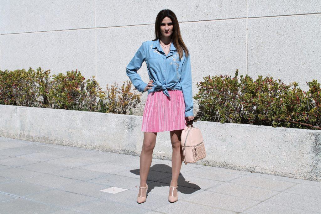 Pink Velvet Skirt Outfit