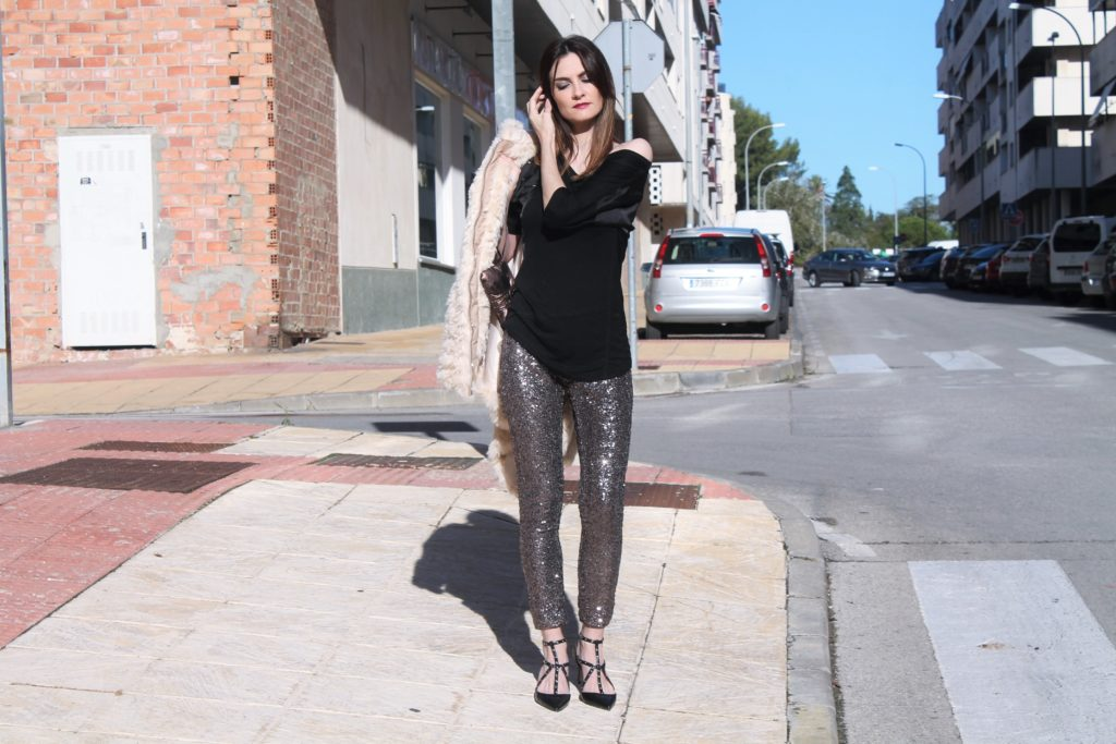 Zaful Silver Sequin Pants Evening Outfit