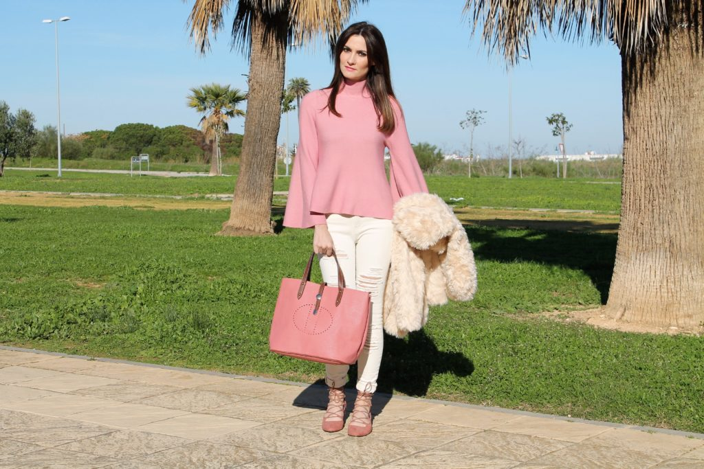Bell-Sleeve Pink Sweater Outfit