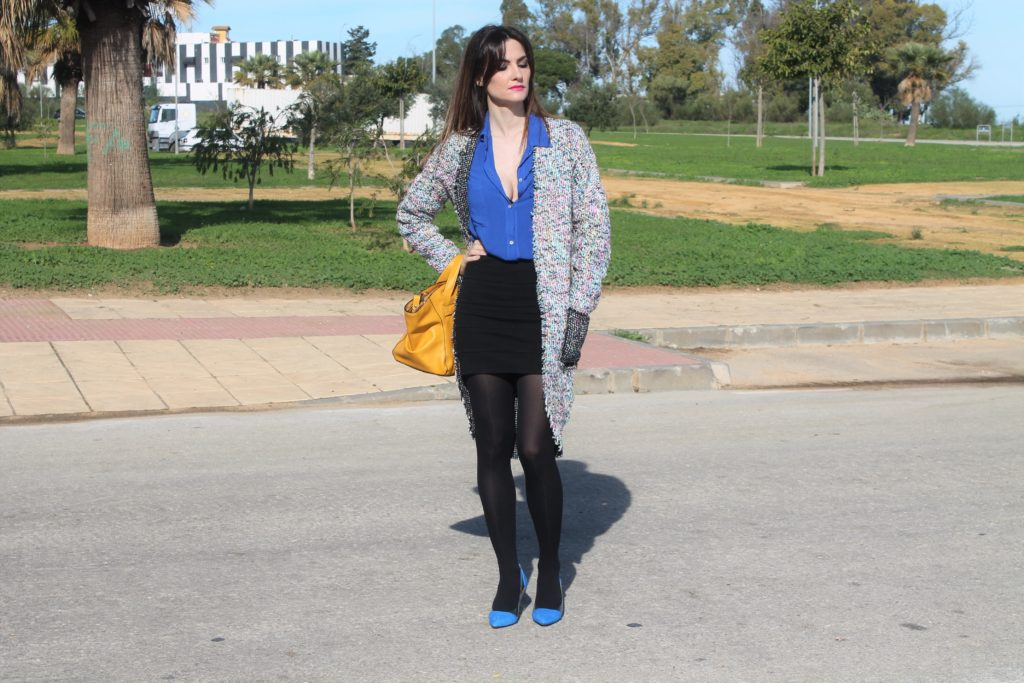 Shein Multicolour Tweed Coat Outfit